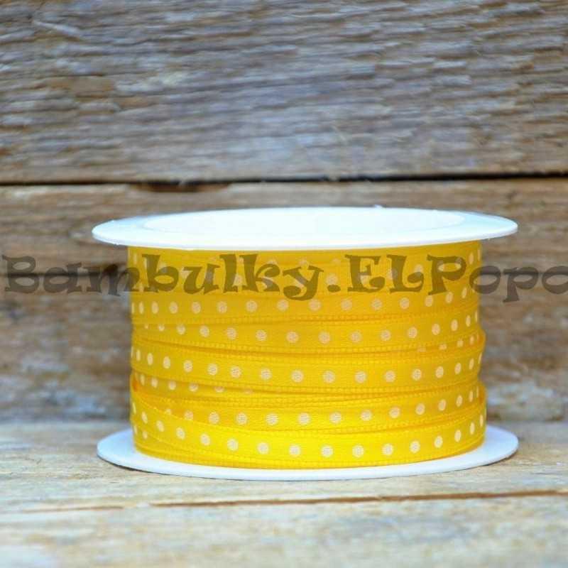 Puntíkatá stuha žlutá (cena za 1m)