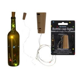 Korková zátka s 5 LED multi color - světelný řetěz