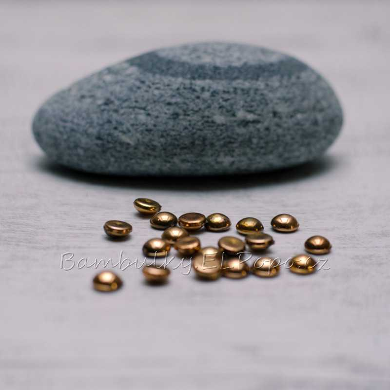 Půlkulaté pecičky bronzové (v balení 20 ks)