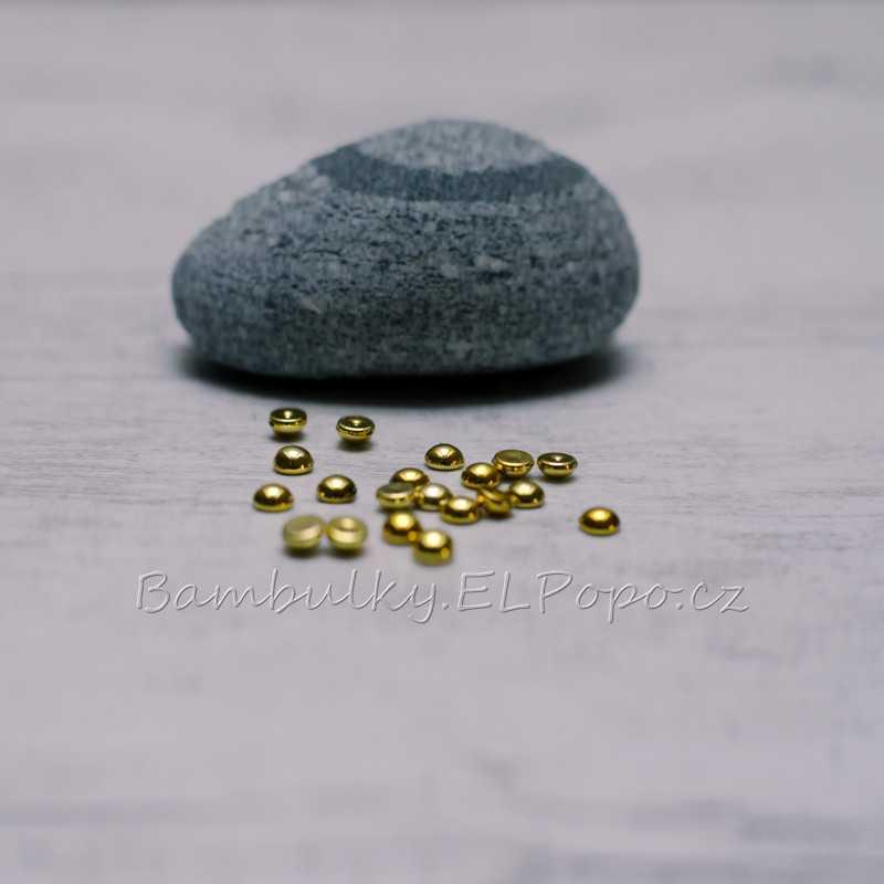 Půlkulaté pecičky zlaté (v balení 20 ks)