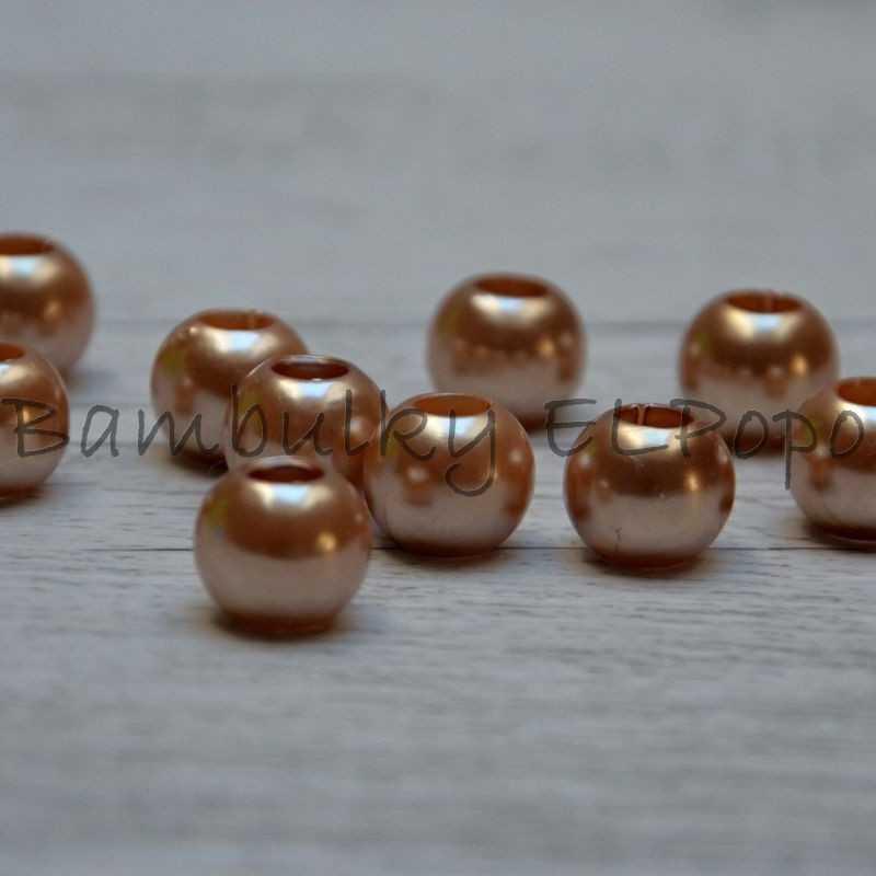 Perličkový korálek zlatavo hnědý (cena za 1 kus)