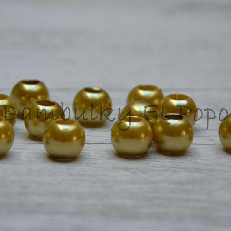 Perličkový korálek hořčicovo zlatý (cena za 1 kus)