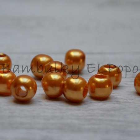 Perličkový korálek zlato lososový (cena za 1 kus)
