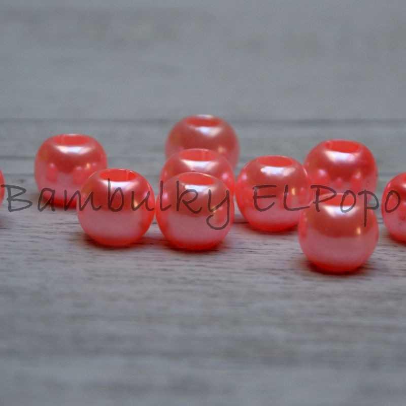 Perličkový korálek růžovo lososový (cena za 1 kus)