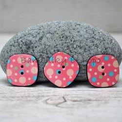 Knoflík puntík tm. růžový (cena za 3ks)
