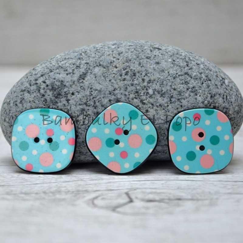 Knoflík puntík tyrkysový (cena za 3ks)