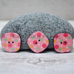 Knoflík puntík sv. růžový (cena za 3ks)