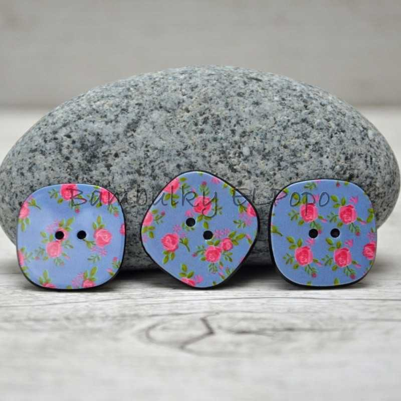 Knoflík kytička modrý (cena za 3ks)