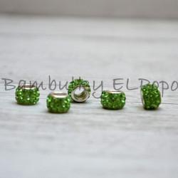Štrasová rondelka zelená (cena za 1 kus)
