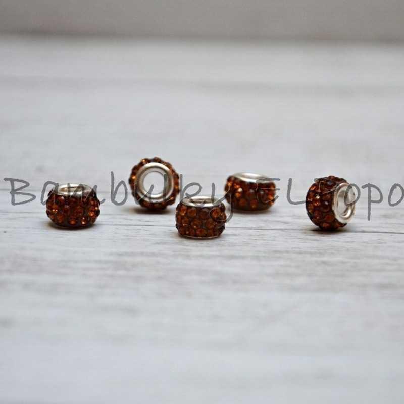 Štrasová rondelka medová (cena za 1 kus)