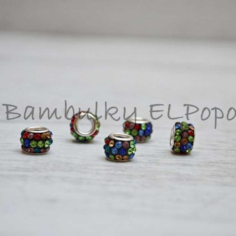Štrasová rondelka vícebarevná (cena za 1 kus)