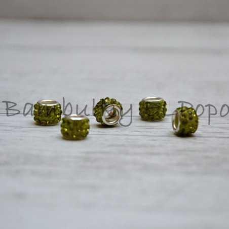 Štrasová rondelka zelená kiwi (cena za 1 kus)