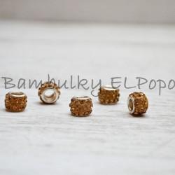 Štrasová rondelka béžovo-hnědá (cena za 1 kus)