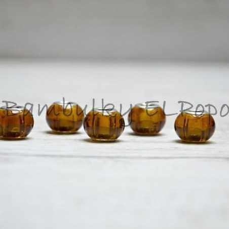 Skleněný korálek medový (cena za 1 kus)