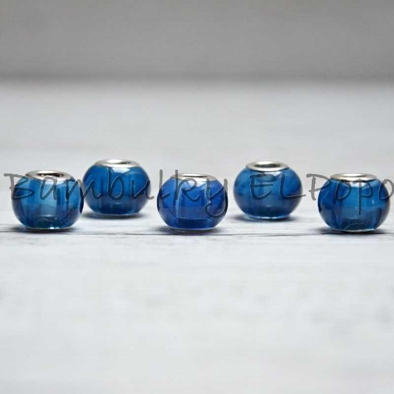 Skleněný korálek modrý (cena za 1 kus)