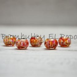 Skleněný korálek stříkaný oranžovo-růžový (cena za 1 kus)