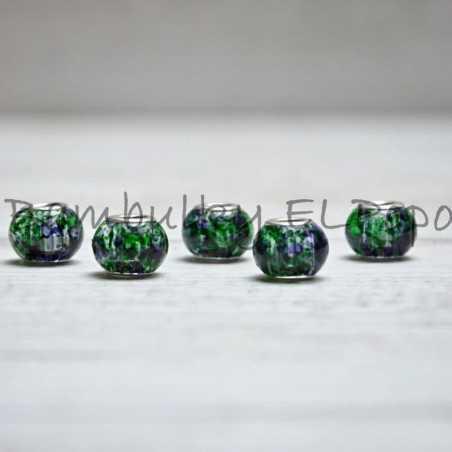 Skleněný korálek stříkaný fialovo-zelený (cena za 1 kus)