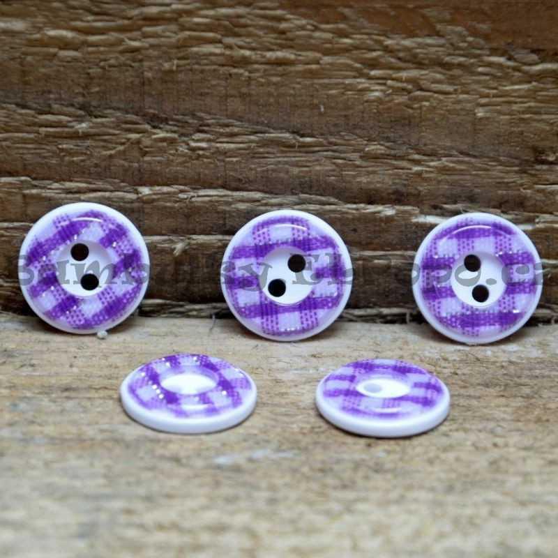Károvaný knoflík fialový (cena za 5 ks)