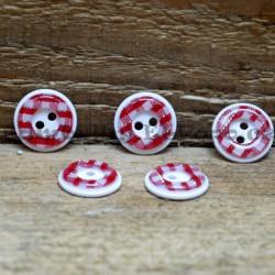 Károvaný knoflík červený (cena za 5 ks)